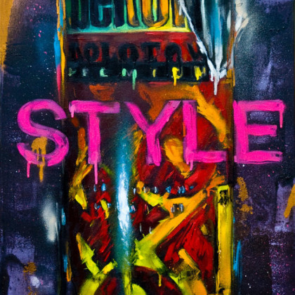 BELTON - Spray paint and oil on canvas - 50x100cm - 2011
