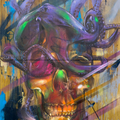 SKULL AND OCTOPUS - Spray paint and oil on wood - 70x90cm - 2012