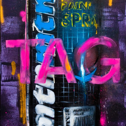 MTN - Spray paint and oil on canvas - 50x100cm - 2011