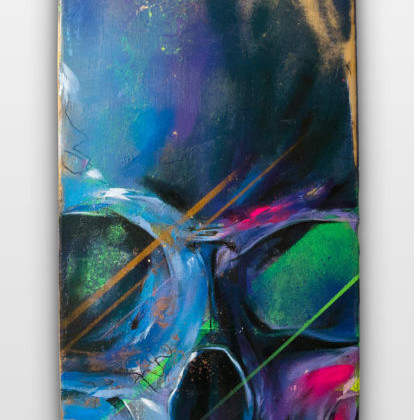 VANITAS IV - Spray paint and oil on wood - 20x80cm - 2012
