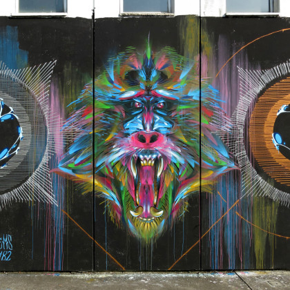MYSTICAL MONKEYS (part 1) - Spray paint and acrylic on wall - 600x500cm - 2014 (collaboration with Corn79)